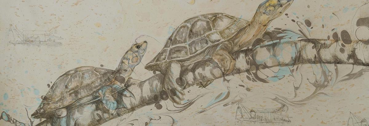 Mientras tanto (Rio Putumayo) Dibujo, tinta, Ebrú sobre Papel. 63 x 98 cm.