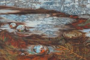 Bajo el agua la tortuga - Oleo sobre tela - 34 x 34 cm