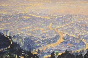 Bogotá Rio San Francisco : Oleo sobre Tela : 100 x 200 cms