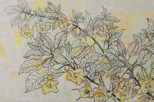 Datura Tinta y Ebru sobre papel 27 x 60 cm