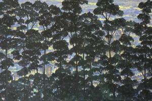 Bosque y Ciudad : Oleo sobre tela : 85 x 160cms