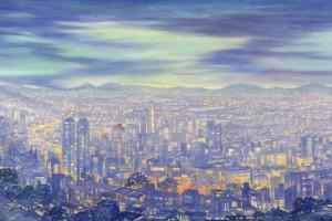 Ciudades vulnerables : Oleo sobre tela : 85 x 160 cms
