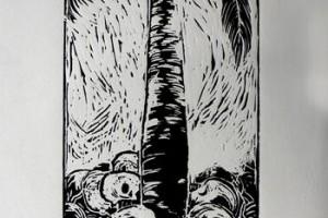 Creciendo con la muerte : Linoleo : 50 x 35 cms