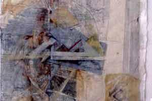 De la serie- Cuadernos de Leonardo : Collage sobre papel : 30 x 24 cms