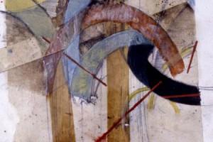 Entre la catedral : Collage sobre papel : 30 x 28 cms