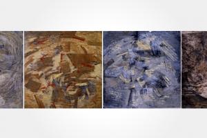 Fauna de los espejos : Oleo sobre tela : 30 x 120cms