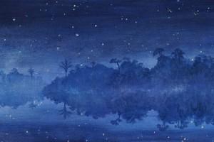 Hora de los grillos - Oleo sobre tela - 30 x 150 cm