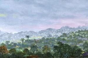 Hora de los grillos : Oleo sobre tela : 35 x 120 cms