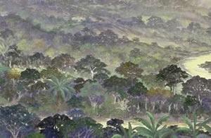 Hora de los grillos : Oleo sobre tela : 50 x 150 cms
