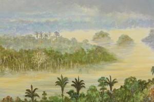Llovizna y sol - Oleo sobre tela - 30 x 150 cm