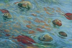 Waterflow Oil on canvas 40 x 40 cm