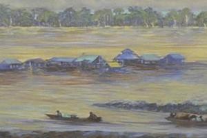 Puerto en Leticia : Oleo sobre tela : 24 x 160 cms