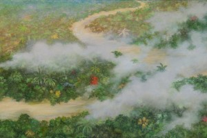 Putumayo river from the air Oil on canvas 60 x 110 cm