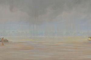 Siempre el Agua - Oleo sobre tela - 30 x 150 cm