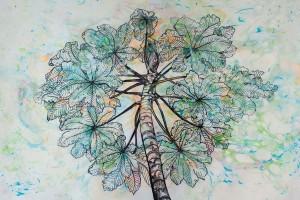 Yarumo Tinta y Ebru sobre papel 40 x 60 cm
